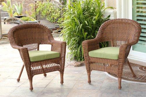 Jeco W00205-C_2-FS029-CS Wicker Chair with Green Cushion, Set of 2, Honey/W00205-C_2-FS029-CS (Patio Resin Wicker)