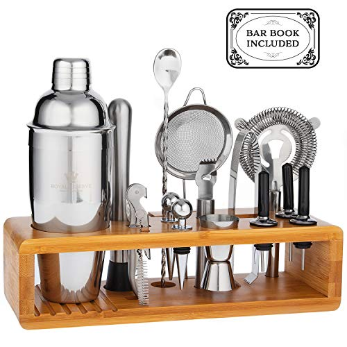 Gifts for Husband Mixology Cocktail Shaker Set by Royal Reserve - 16-Piece Bartender Set with a Bamboo Stand - Bar Accessories Kit including a Martini Shaker & Mixer Recipe Book - Men Birthday