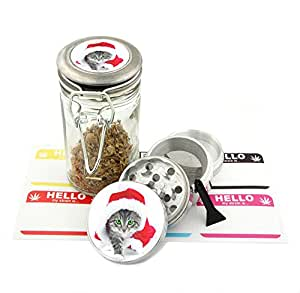 Santa Cat Design -42 mm- 4Pcs Small Size Grinder and 75 ml Locking Top Glass Jar Combo Gift Set # G42102015-36