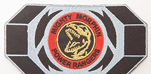 Black Dino Thunder Power Ranger Costume (Mighty Morphin Power Rangers Embroidered Iron on Patch / Red Ranger Morpher Belt Buckle Badge Applique Tyrannosaurus Rex Costume Fancy Dress)