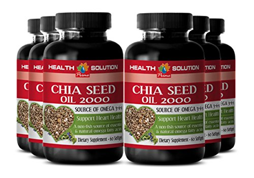 Chia seeds bulk - CHIA SEED OIL 2000 - support digestive health (6 bottles) by Health Solution Prime