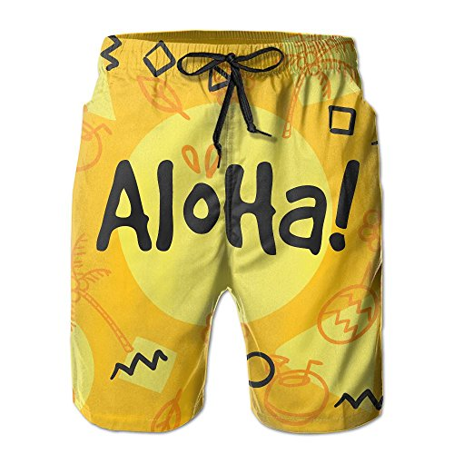 UAJAR Aloha Palm Tree Mens 3D Printed Board Shorts Cool Beach Swim Shorts Swim Trunk