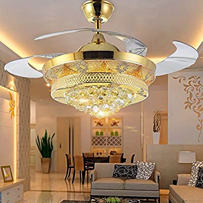 COLORLED Modern Crystal Gold Ceiling Fan Light Kit for Living Room Bedroom Telescopic Fan Chandeliers Lighting Fixture