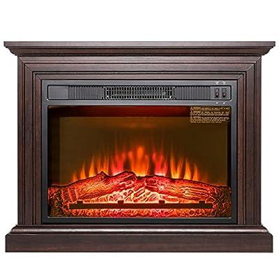 "AKDY 32"" Electric Fireplace Freestanding Brown Wooden Mantel Firebox 3D Flame w/Logs Heater"