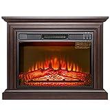 FIREBIRD 31'' Brown Wooden Finish Push Button Freestanding Insert Electric Fireplace Stove Heater