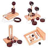 KINGOU 4 Pack Classic Wooden Rope Puzzle Set Ring