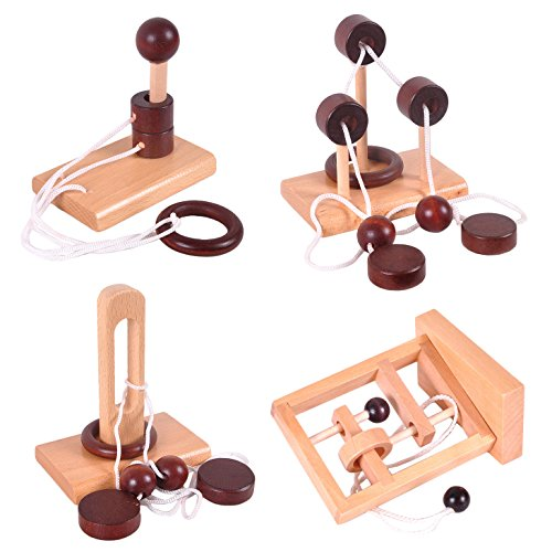 KINGOU 4 Pack Classical Wooden Puzzle Set Solution Rope Central Brain Teaser for Adults Game -