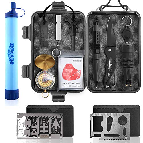 Wild Peak Prepare-1 Survival Tool Kit Bundle with Outdoor 4-Stage Water Filter...
