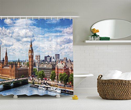 Ambesonne London Decor Collection, Extensive Cityscape with Big Ben, Westminster Bridge on River Thames with Puffy Clouds Picture, Polyester Fabric Bathroom Shower Curtain, White Green Blue ()