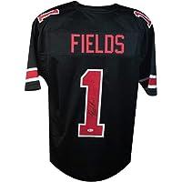 $209 » Justin Fields Autographed Ohio State Custom Black Football Jersey - BAS COA