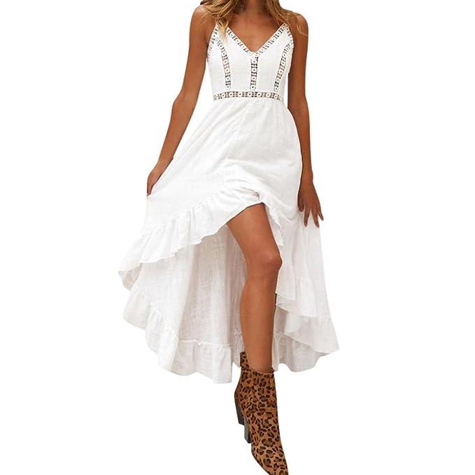 kingko Damen Sommerkleid Elegant Lang Schulterfrei Maxikleid V-Ausschnitt  Ärmellos Lose Partykleid Strandkleid Feiertagskleid Knielang e89d511b7f