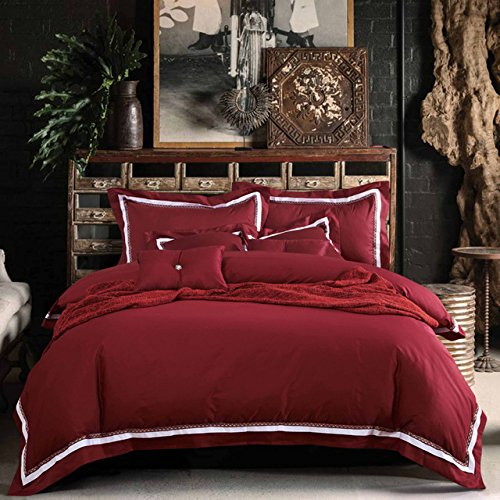 shophubb 100% Cotton 4PC Wine Red Bedding Set Queen Size Claret Duvet Cover King Burgundy housse de couette Euro Double Blanket Cover