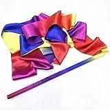 2PCS Dance Ribbons Rhythm Ribbon Dance Rainbow Ribbon Rhythmic Ribbons Gym Ribbons Streamers Dancing Streamers