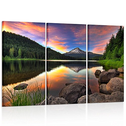 Kreative Arts - 3 Panel Wall Art Mount Hood View from Trillium Lake Oregon USA Mountain Sunset Painting Print On Canvas Landscape Pictures for Home Decor Decoration Gift Piece (Hood Oregon Mount)