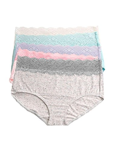 Felina | Cotton Hipster Panty | Wide Lace Band | Low Rise Women's Briefs | Multiple Colors | 5 Pack (Felina Garter)
