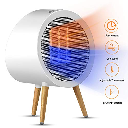 Ceramic Space Heater, GoGoMart Upgraded Portable Electric Fast Heating Heater with Thermostat for Home and Office Energy Efficient White – 600 1000W