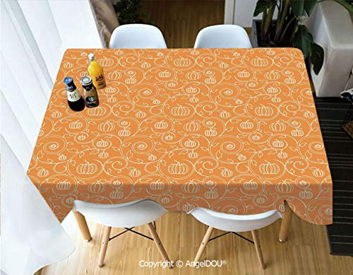 AngelDOU Modern Tablecloth Rectangle Table Cover Pattern with Pumpkin Leaves and Swirls on Orange Backdrop Halloween Inspired for Camping Picnic Dinner Party Decor,W55xL55(inch) -