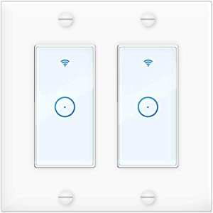 WiFi Smart Switch,Wall Light Switches Connect Home Devices with Alexa, Google Assistant and IFTTT, Remote Control,No Hub Required,Timer Function(2 Gang)