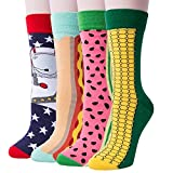 4 Pack Of Men's Colorful Art Patterned Funny Casual Cotton Crew Socks