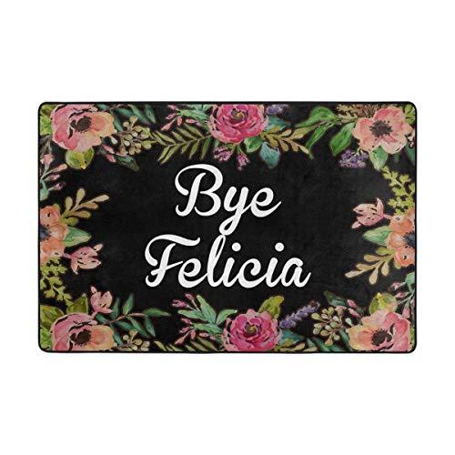 Bye Felicia Flower Door Mat Outdoor Indoor Cotton interlayer Polyester Fabric Top ()