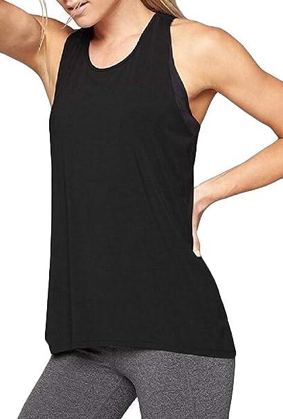 e0b79a042ffdb7 Hajotrawa Women s Exercise Crisscross Blouse Yoga Casual Athletic Tank Tops  Tee at Amazon Women s Clothing store