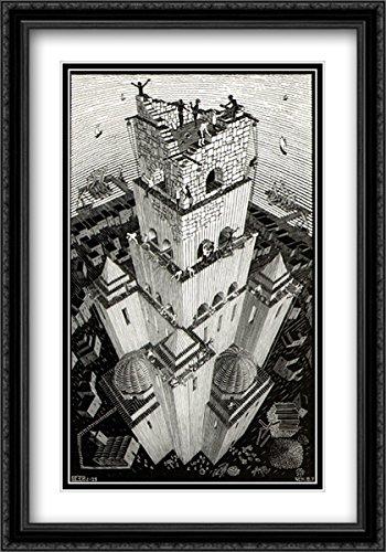M.C. Escher 2x Matted 28x40 Black Ornate Large Framed Art Print 'Tower of (Tower Of Babel Craft)