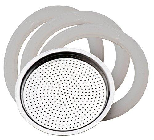 PEDRINI 02CF036.RG1Recambio 3Juntas + Filtro steelmoka 2Tazas, Aluminio, Blanco, 4Unidad