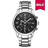 CURREN Stainless Steel Men Watch Waterproof Japan Imported Movement Business Casual Luxury Watch Valentine's Day Gift for him 8046 (Silver-Black)