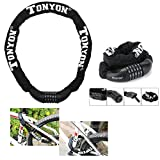 Itian Bike Lock Chain Heavy Duty, Bike Chain Lock with Resettable Combination, Open with Password Security Anti-theft Bicycle Chain Locks for Bike, Motorcycle, Bicycle, Gate, Door, Fence