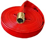 Key Fire Pro Flow Fire Hose, Red, 1-1/2''  ID, 50 feet, 800 PSI Burst Pressure, M x F NST Brass Connectors