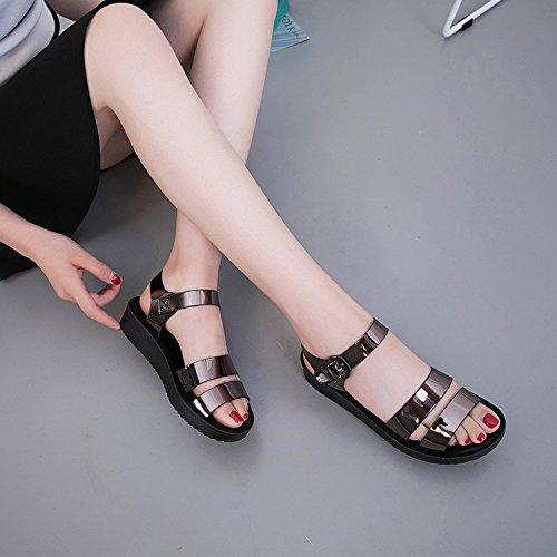 ZPPZZP Presidente, sandali, piatta, stile minimalista e selvaggio, confortevole, piatta, argento , 35EU