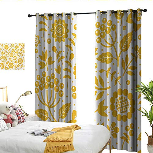 Perfectble Yellow Flower Rustic Composition with Berries Twigs Graphic Flora Nature Leaves Pattern Yellow White Custom Curtains ()