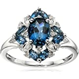Fashion 925 Silver Blue Sapphire & White Sapphire Ring Wedding Bridal Jewelry#by pimchanok shop (6)
