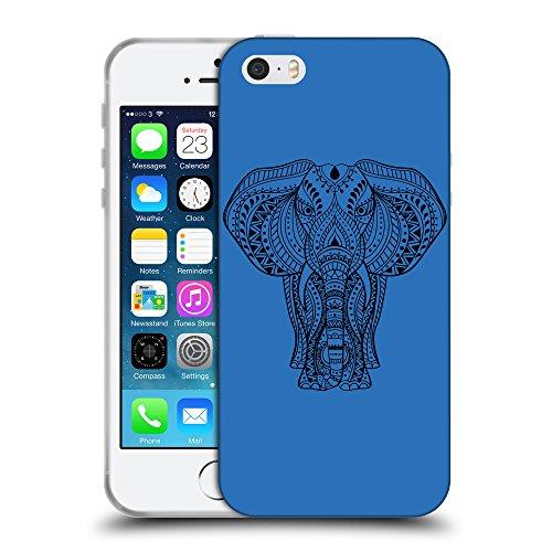 GoGoMobile Coque de Protection TPU Silicone Case pour // Q08170608 Éléphant indien 1 Azur // Apple iPhone 5 5S 5G SE