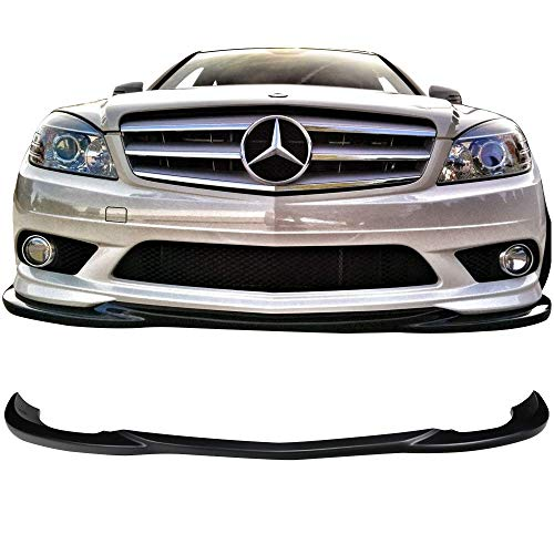 Front Bumper Lip Fits 2008-2011 Mercedes Benz W204 C-Class   GH Style Black ABS Air Dam Chin Diffuser Spoiler Body Kit by IKON MOTORSPORTS   2009 2010