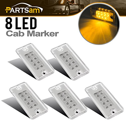 Cab Top Light Mount (Partsam 5x Amber Yellow 8LED Roof Running Light Top Clearance Cab Marker Light Clear Lens for Freightliner Volvo)