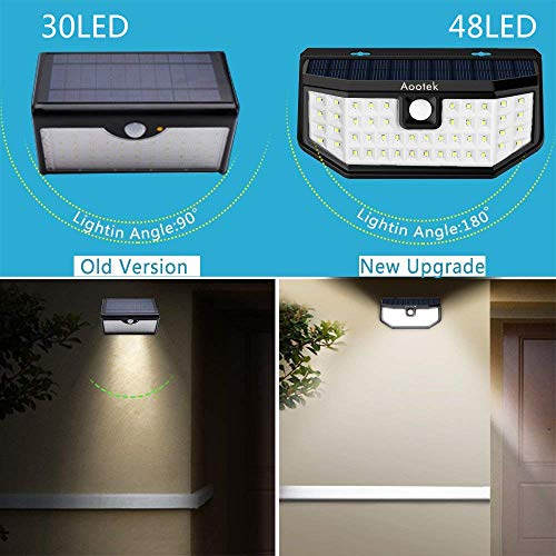New Upgraded 48 LED Solar Lights with Wide Angle Illumination,Outdoor Motion Sensor Waterproof Wall Light Wireless Security Night Light with 3 Modes for Driveway Garden Step Stair Fence Deck 2pack by Aootek (Image #1)