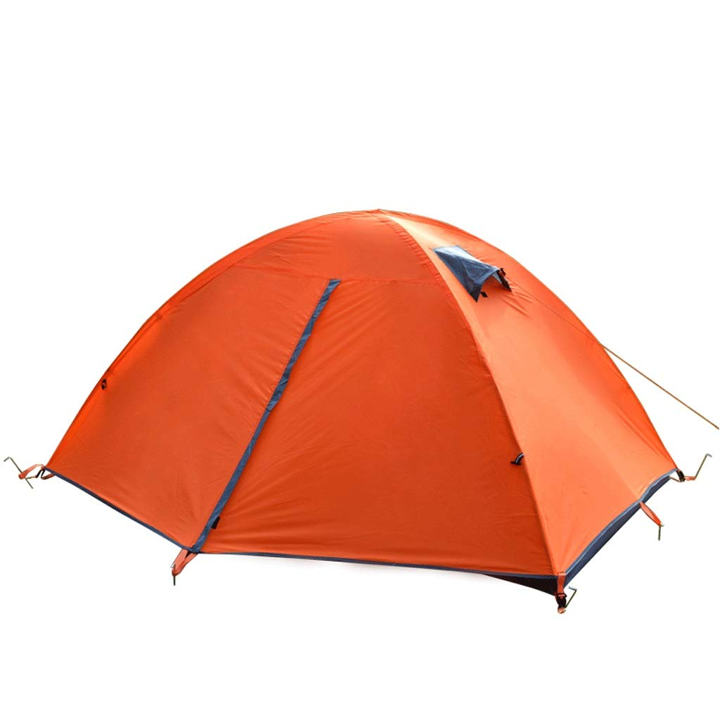 YONGFEIhun 屋外テント、野生の二重層テントキャンプ防風雨日焼け止めマルチパーソンテント、2人オレンジ   B07R1H67M1