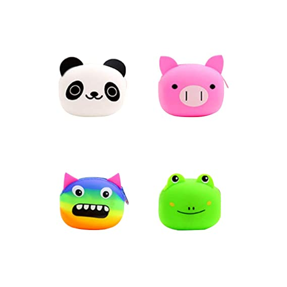4pcs Animal Monedero Cambio De Silicona Llavero Carpeta ...