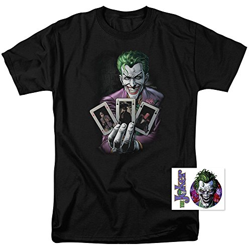 Joker Holding Cards DC Comics T Shirt & Exclusive Stickers -