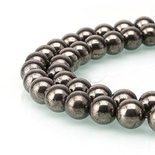 Pyrite Beads - jennysun2010 Natural Pyrite Gemstone 8mm Smooth Round Loose 50pcs Beads 1 Strand for Bracelet Necklace Earrings Jewelry Making Crafts Design Healing