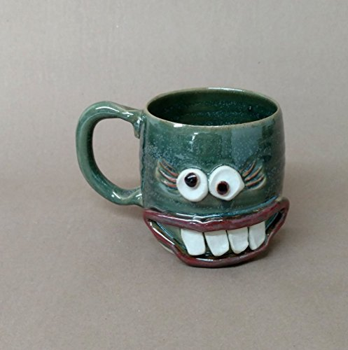 (Ug Chug Coffee Cup. Girly Face Lash Mug. Stressed Out Woman Mug for Mom Wife Girlfriend. Medium 14-18 Ounces in Green. Handmade Microwave and Dishwasher Safe Stoneware Pottery.)
