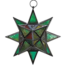 Gifts & Decor Moroccan Style Star Shaped Candle Lantern, Metal Glass