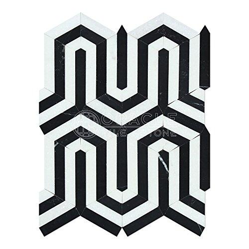 Marble Berlinetta Design Mosaic Tile with Black, Polished (Blk Black Floor Fixtures)