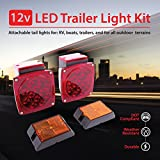 Wellmax 12V LED Trailer Lights Kit, Submersible and Waterproof, Attachable Tail Lights for RV, Marine, Boat, Trailer, Camper