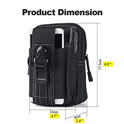 Universal Tactical Waist Belt Bag | Outdoor EDC Military Holster Waist Wallet Pouch Phone Case Gadget Pocket for iPhone X 8 7 6 6s Plus Samsung Galaxy S8 S7 S6 S5 S4 S3 ( 2 PACK )