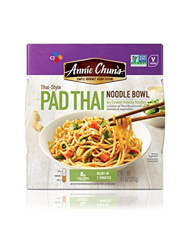 Annie Chun's Pad Thai Noodle Bowl, Non-GMO, Vegan, 8.4-oz (Pack of 6), Microwaveable, Ready Meal