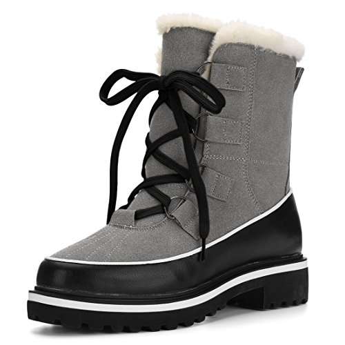 Allegra Boot (Allegra K Women's Contrast PU Panel Fleece Lining Snow Boots (Size US 7) Grey)
