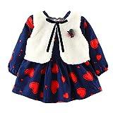 XoiuSyi,Newborn Baby Girls Cartoon Warm Princess Dress+Waistcoat Outfits Clothes Set