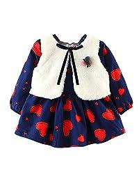 SCSAlgin Baby Girls Cartoon Warm Princess Dress+Waistcoat Outfits Clothes Set